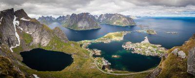 Lofotu salas visā savā krāšņumā. Norvēģija.