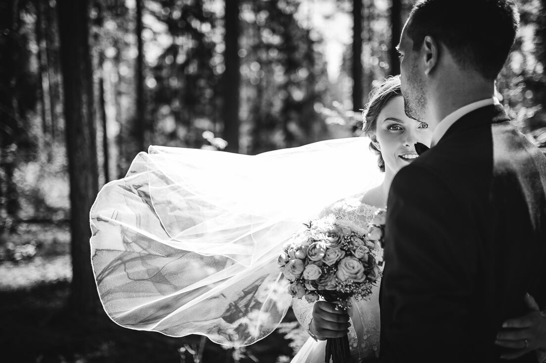 Fotosesija mežā kāzu dienas izbraukumā